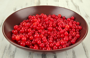 Red berries of viburnum in bowl on wooden background