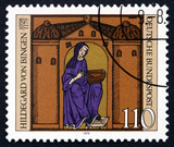 Postage stamp Germany 1979 Hildegard von Bingen with Manuscript