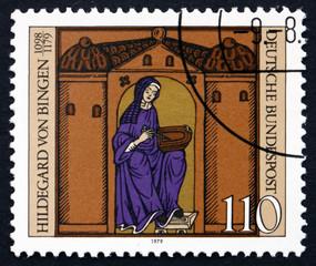 Postage stamp Germany 1979 Hildegard von Bingen with Manuscript