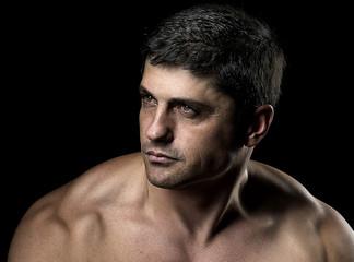 Handsome man body in dark background