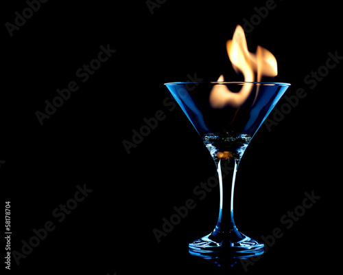 Flamer Cocktail over black on the glass