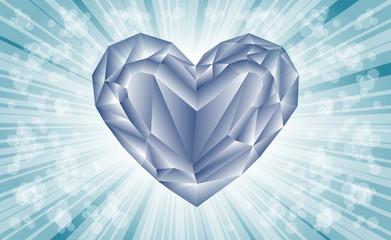 diamentowe serce na niebieskim tle