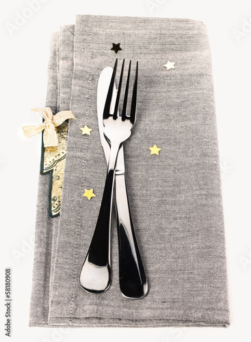 Table setting for Christmas with gold stars
