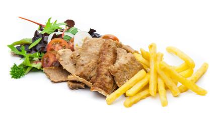 Kebab con patatas y ensalada