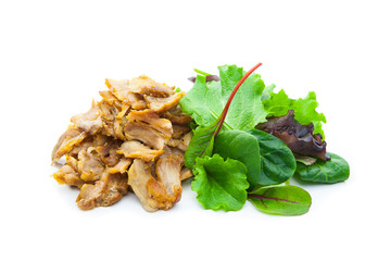 Kebab de pollo con ensalada