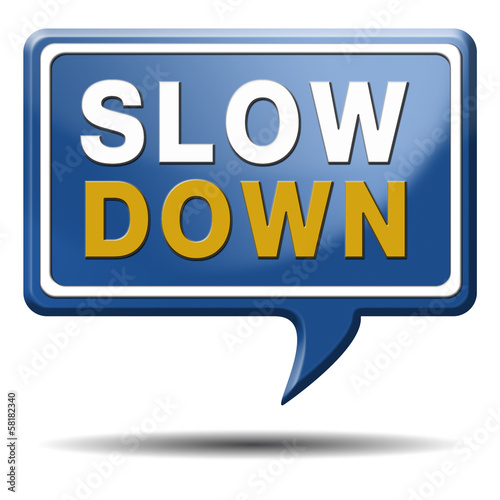 slowdown blue text balloon