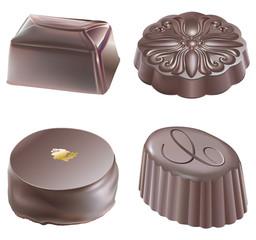 Quatre chocolats noirs de Noël