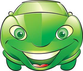 Happy green car