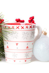 cup of tea with xmas decoration