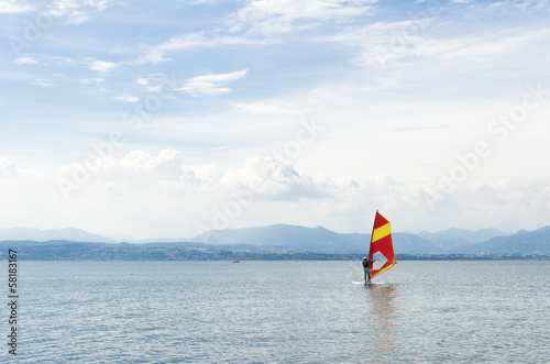 surfer on lake