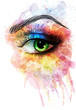 Eye made of colorful splashes