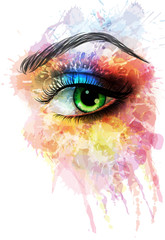 Eye made of colorful splashes