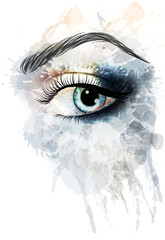 Eye made of watercolor splashes
