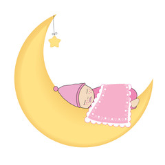 Newborn baby girl sleeping on the moon vector