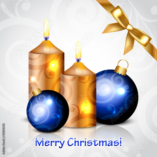 Vector Merry Christmas background with gold candles and decorati