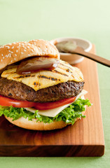 grilled pineapple burger with bbq sauce