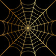 Vector illustration of gold cobweb