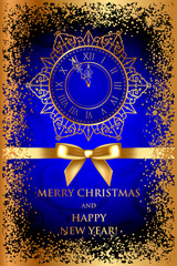 Vector Merry Christmas & Happy New Year blue background with gol