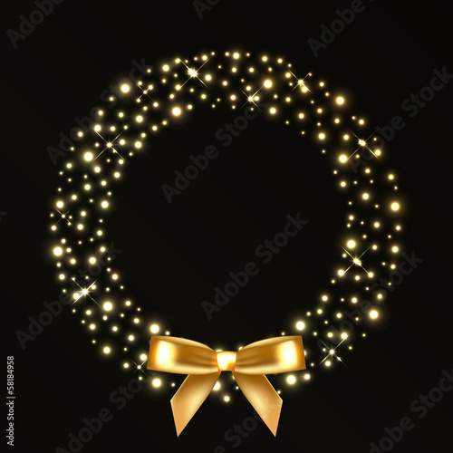 Vector illustration of christmas wreath from gold lights