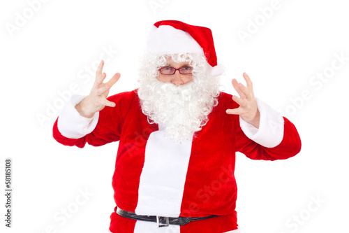 Desperate Santa Claus on white background