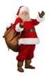Leinwandbild Motiv Real Santa Claus carrying big bag