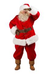 Santa Claus peering far away