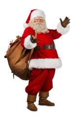 Real Santa Claus carrying big bag