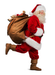 Santa Claus on the run to delivery christmas gifts isolated on w