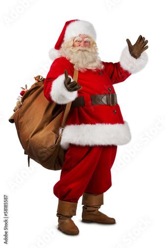 Prawdziwy Święty Mikołaj niesie dużą torbę