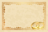 Vector parchment frame with gold rings