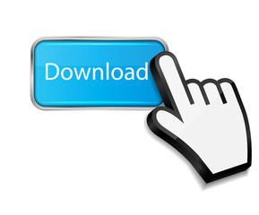 Mouse hand cursor on download button vector illustration