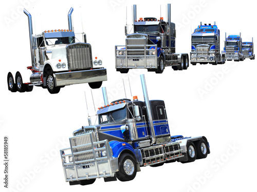 Heavy trucks isolated collage