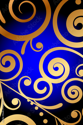Vector blue background with gold ornament