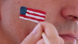 face painting flag of USA