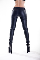 Long legs in skinny leather pants