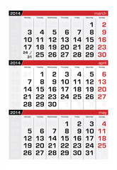 April 2014 Three-Month Calendar