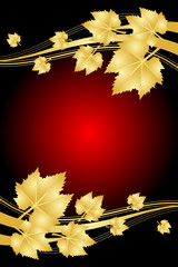 Vector red background with gold leaves