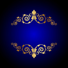 Vector luxury blue background with floral decoration