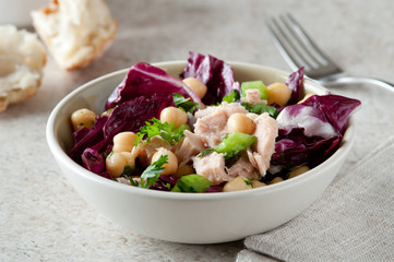 closeup of healthy tuna salad