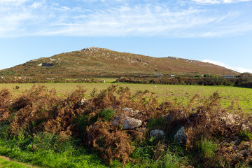 Blue sky and Cornwall countryside Zennor near St Ives