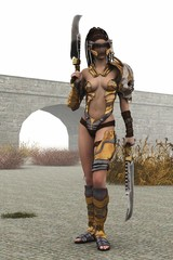 Fantasy female warrior in skimpy shiny metal armor
