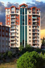 Apartment buildings. Multistoried modern living block of flats.
