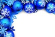 Blue Christmas corner border with baubles and snowflakes