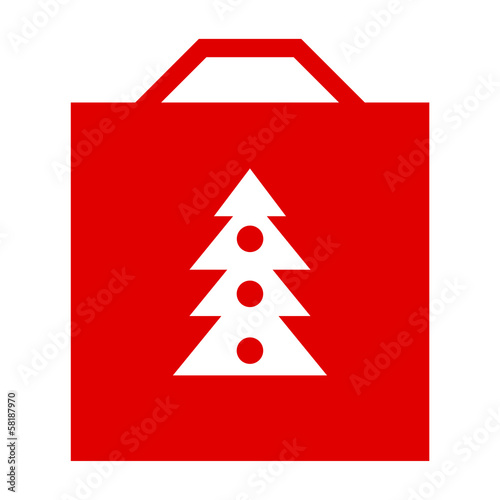 Christmas shopping bag isolated on white