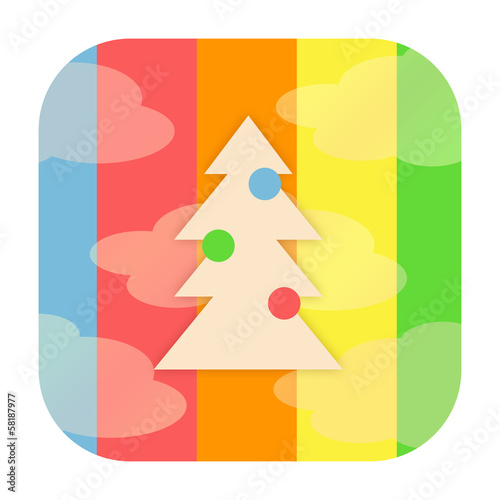 Christmas icon with xmas tree