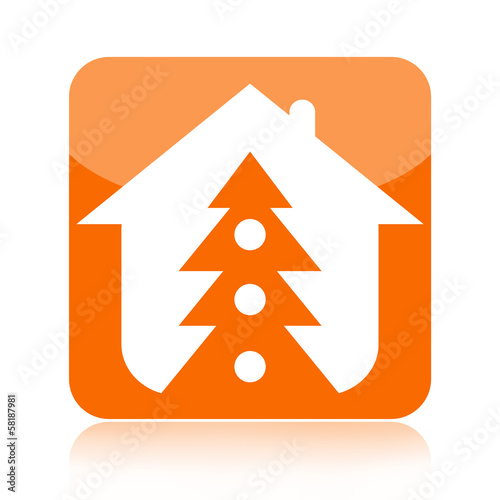 Christmas tree and home icon