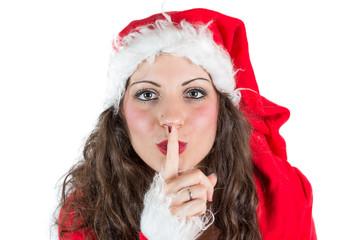 Isolated young christmas woman hush