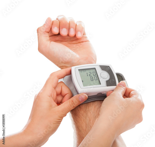 Person Checking Blood Pressure