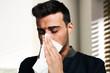 Man having a cold