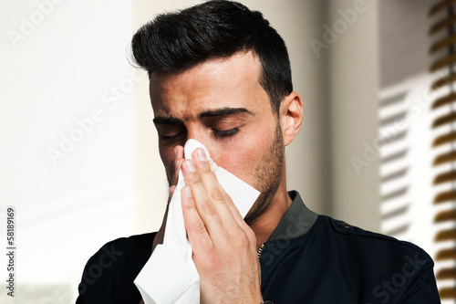 Man having a cold